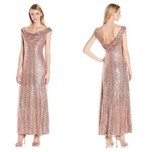 Cachet Sequined Drape Back Formal Evening Gown